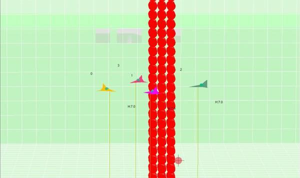 Entorno de simulación en el que se muestra la navegación de varias aeronaves evitando colisionar con una torre y entre si.