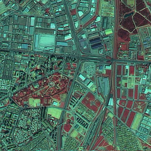 Imagen reconstruida mediante un método creado para el proyecto, en la que cada píxel representa un área de 5 x 5 metros conservando la información de cromatismo.