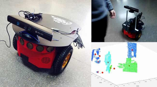 Robot utilizado en el estudio, con una segmentación dinámica del entorno (imagen inferior derecha). / Grupo de Sistemas Cognitivos y Neurorobótica UCM.