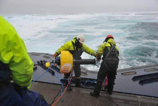 Instalación de los hidrófonos del Laboratorio de Aplicaciones Bioacústicas de la UPC para estudiar el impacto de la actividad humana en los animales marinos.
