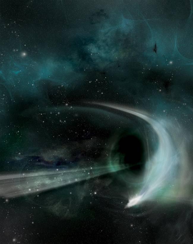 Recreación artística de la absorción de la estrella por el agujero negro.