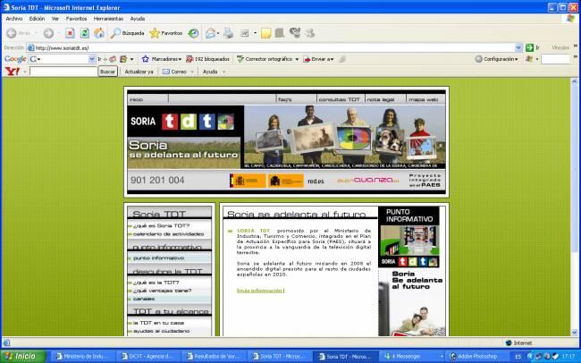 Ventana de inicio de la web www.soriatdt.es.