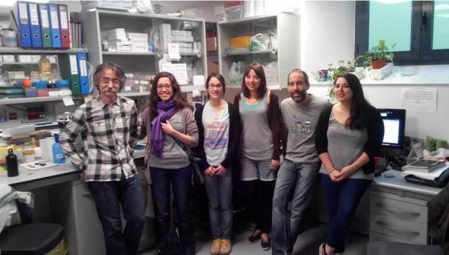 De izquierda a derecha, los investigadores Carles Enrich, Meritxell Reverter, Anna Álvarez Guaita, Ana García Melero, Carles Rentero y Elsa Meneses en la Facultad de Medicina de la Universidad de Barcelona..