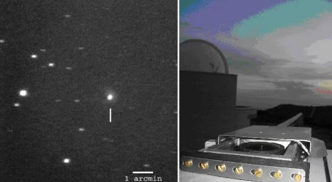 Uno de los estallidos del cometa registrado desde el Observatorio Esteve Durán, en Seva