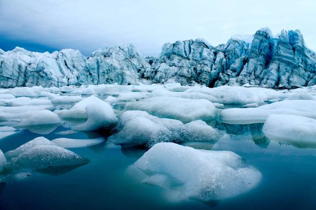 Terminal de salida del glaciar en el oeste de Groenlandia