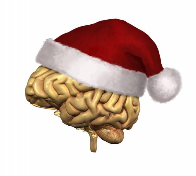 Cerebro con un gorro de Navidad