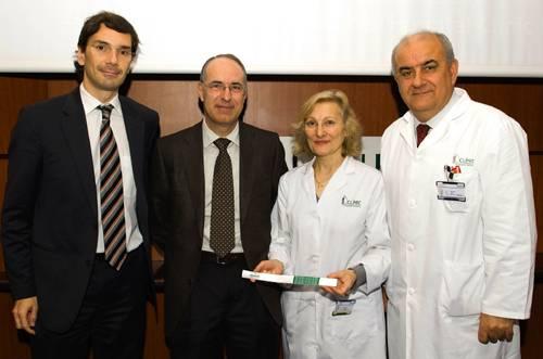 De izquierda a derecha, El Sr. Joan Pons, el Sr. Joan Vila-Masana, la Dra. Manasanch y el Dr. Josep Brugada