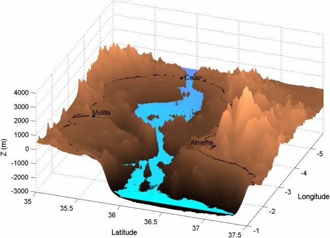 Vista tridimensional del Mar de Alborán con el nivel del agua después de 15 días