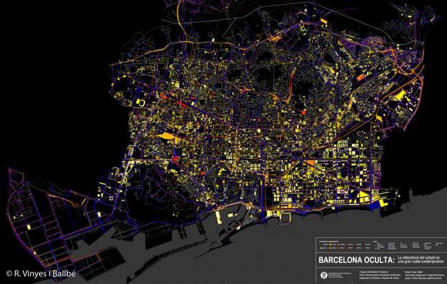 Fragment del plànol de la Barcelona oculta 2015: Gràcia, Eixample i Ciutat Vella. © R. Vinyes i Ballbé