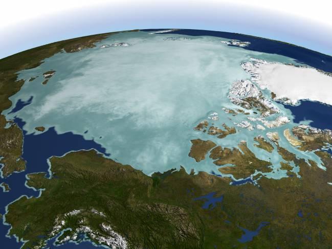 Imagen del Polo Norte de la NASA.