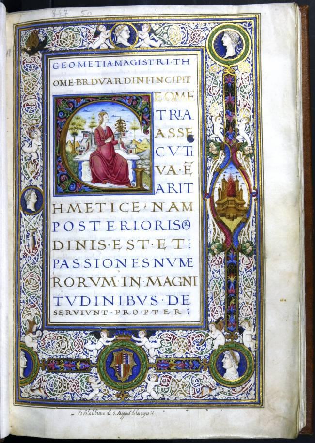 Página de la obra Geometria de Thomas Bradwardine. Biblioteca Histórica de la Universitat de València.