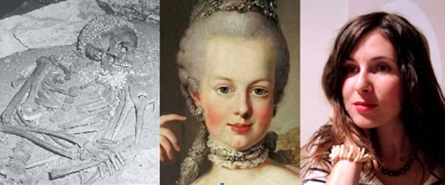 De izquierda a derecha: esqueleto de una mujer que data de hace unos 23.000 años, conocido como Il Principe, que muestra un tocado hecho de conchas y una masa de ocre entre la clavícula izquierda y la mandíbula. Retrato de Maria Antonieta, que muestra un maquillaje con ocre rojo y una mujer joven, con pigmentos ocres rojos en los labios y joyas hechas con perlas. /Antiquity Publications LTD - Carlos Duarte