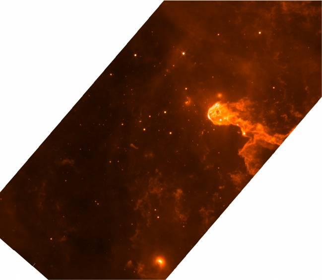 Imagen del cúmulo Tr 37 en Cefeo OB2, en el infrarrojo medio (24 micras), tomada con el telescopio espacial Spitzer. Las regiones nebulosas contienen las estrellas más jóvenes de la región.