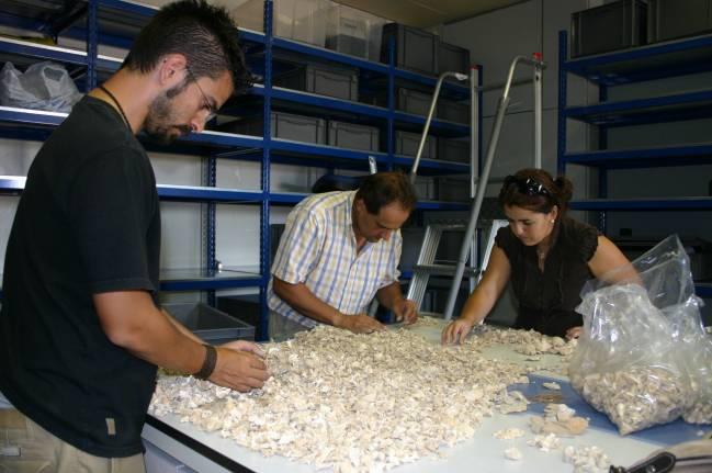 Investigadores del grupo HUM - 440: El círculo del Estrecho. Estudio arqueológico y arqueométrico de las sociedades desde la Prehistoria a la Antigüedad Tardía de la Universidad de Cádiz trabajando en su laboratorio.