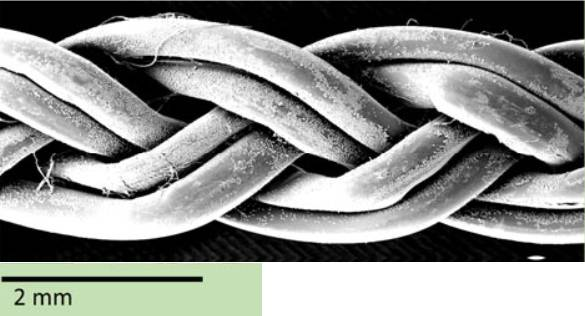 Trenzado producido a partir de seis hijuelas de gusano.