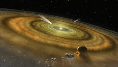 Cometas alrededor de una estrella distinta al Sol. Ilustración: NASA / FUSE / Lynette Cook