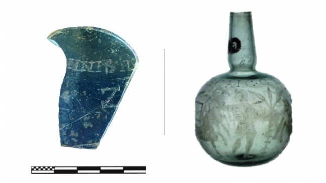 Izquierda: Vidrio localizado en la villa romana de Veranes (Gijón). Derecha: Botella completa del mismo tipo (Isings 103) de la colección del Museo del Louvre (Imagen: Arveiller-Dulong y Nenna [nota 22], pág. 335, nº 948, lámina 73).