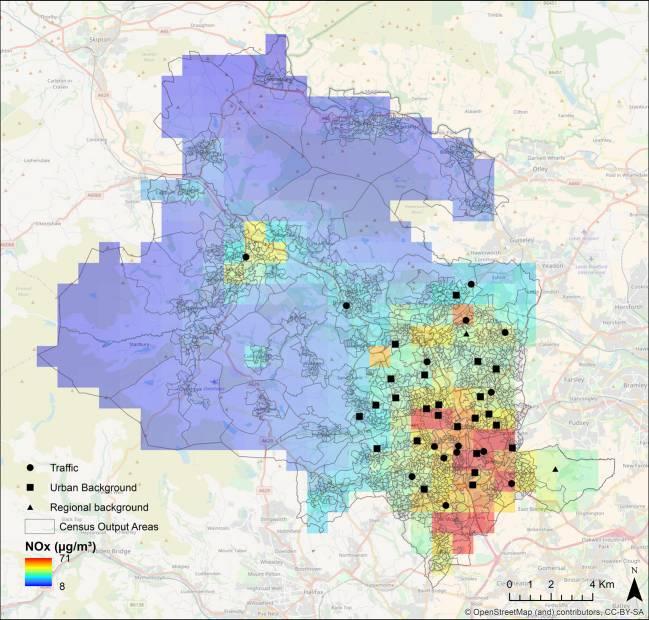 Mapa de la contaminación de fondo en la ciudad de Bradford