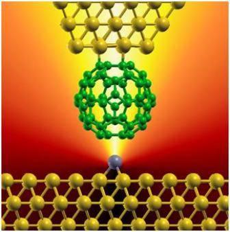 Representación artística de la conexión eléctrica entre una molécula de carbono (con forma de pelota de fútbol) y un átomo metálico (partícula gris).
