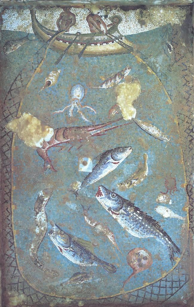 Técnicas de pesca según un antiguo mosaico romano