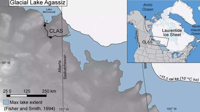 Mapa que muestra la localización del lago Agassiz en Canadá