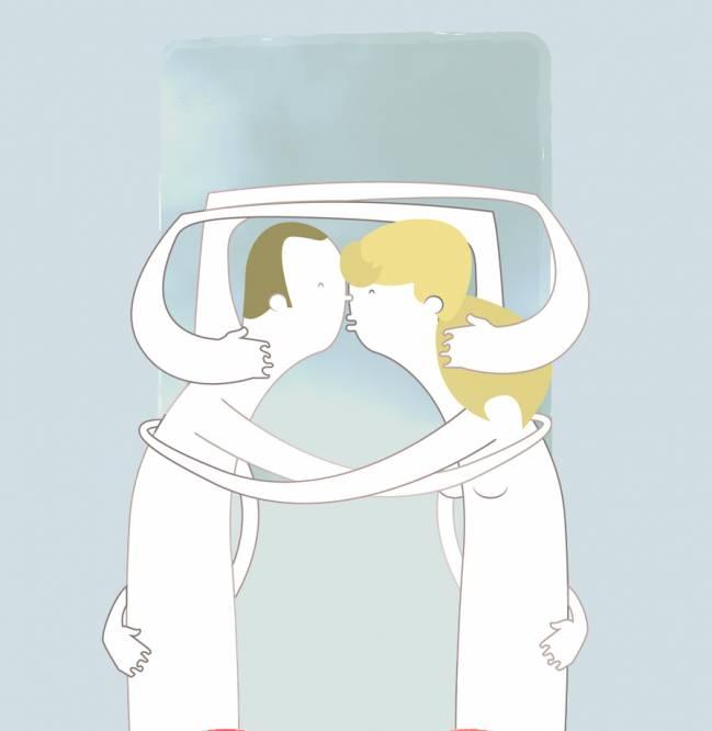 Ilustración de un hombre y una mujer besándose.