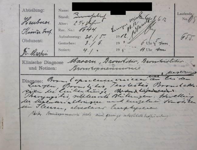 Informe de la autopsia del caso de sarampión de 1912