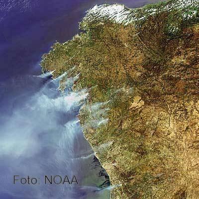 Imagen de la progresión de un incendio tomada vía satélite