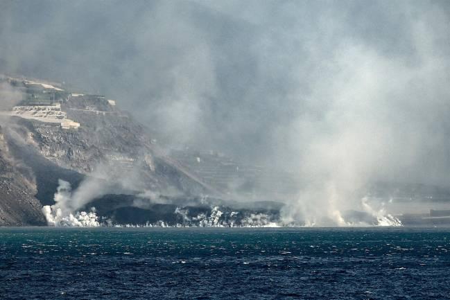 El delta formado por la colada de lava