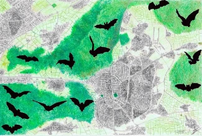 Dibujo de la distribución de algunas zonas protegidas alrededor de Madrid.