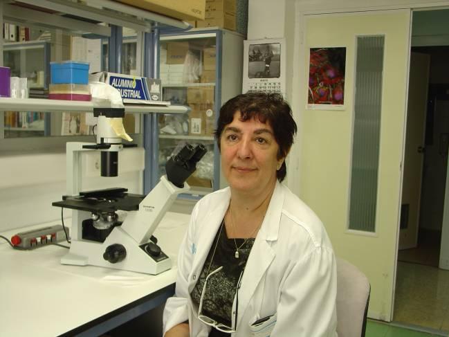 María Consuelo del Cañizo, en su laboratorio del Hospital Clínico.