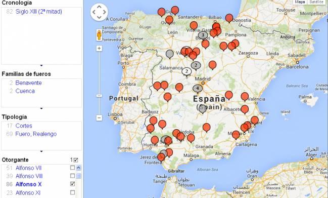 El mapa permite realizar filtros cronológicos por tipo de normas y otorgantes, como es el caso de Alfonso X / HPJP.