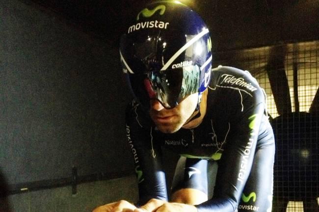 El ciclista Alejandro Valverde en el Túnel del Viento de la UGR.