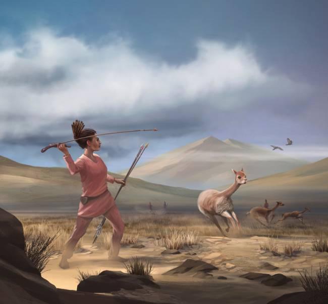 Mujer cazando