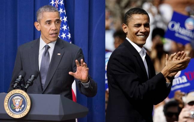 El presisente Barack Obama en el año 2007 (derecha) y en una de sus últimas apariciones (izquierda). /Efe