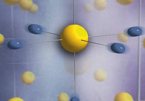 Estructura con enlaces de hidrógeno simétricos inducidos por el comportamiento cuántico de los protones, representados mediante esferoides azules fluctuantes.