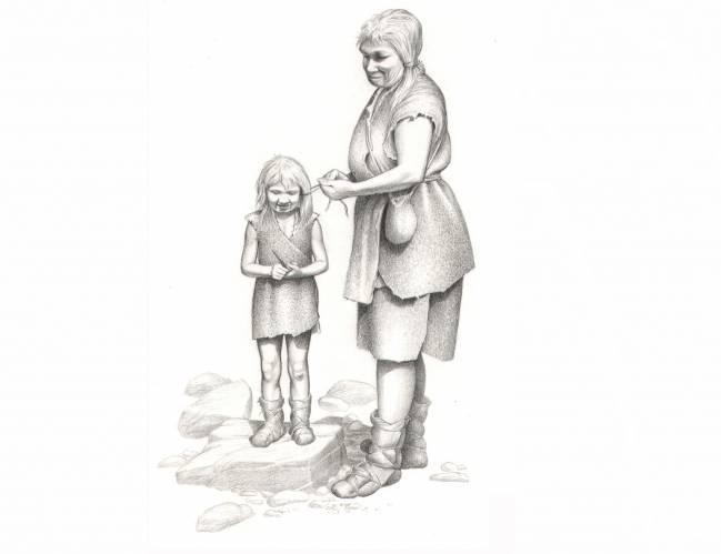 Mujer y niña neandertales. / Eduardo Sáiz Alonso.