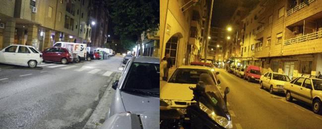 Una calle iluminada con luz blanca (luminarias LED) y otra con luz amarillo-sodio (lámparas de sodio alta presión).