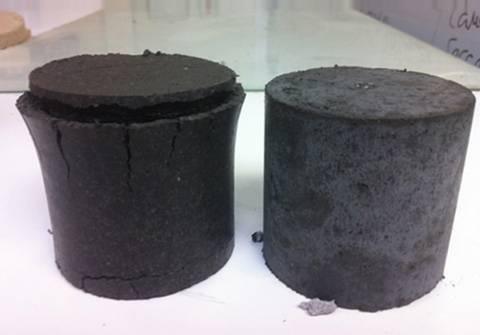 Muestras de suelo tratadas con cal (izda.) y con magnesio (dcha.). La rotura de la probeta tratada con cal se debe a la formación de etringita.