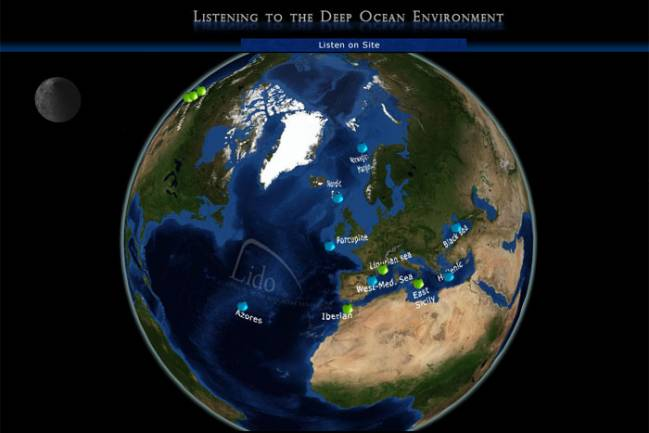 Mapa mundial de la ubicación de los hidrófonos del proyecto Listening to The Deep Ocean Environment (LIDO)