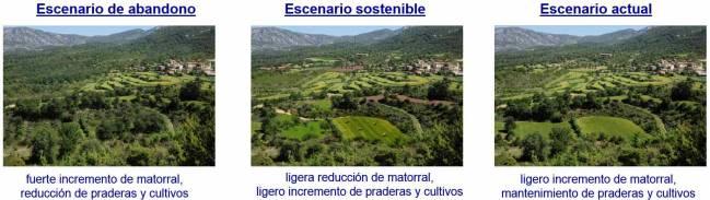 Evolución del paisaje agrario del Parque de la Sierra y Cañones de Guara variará en función del escenario socio-económico y político.