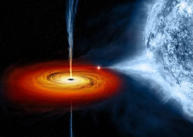 Los agujeros blancos son los inversos temporales de los negros, en lugar de capturar todo en su interior, lo expulsan. / NASA.
