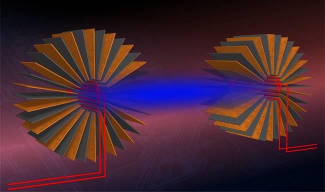 Esquema del montaje experimental para transferir energía entre dos circuítos desarrollado por los investigadores de la UAB. Autor: Jordi Prat