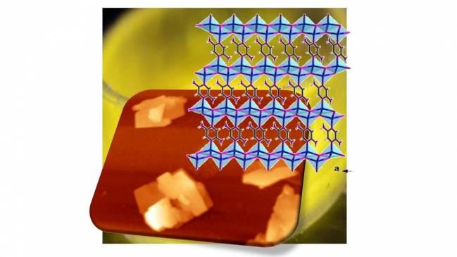 Estructura laminar del compuesto emitiendo en el amarillo a bajas temperaturas, e imagen de microscopia de fuerzas atómicas donde se ven láminas de unos nanometros de espesor. /UAM
