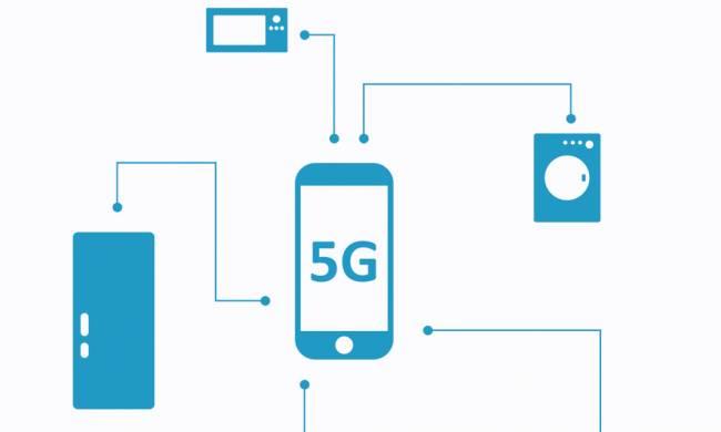 Infografía de teléfono móvil con 5G.