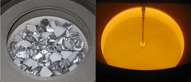 Aspecto del silicio antes y después de fundirlo (imagen tomada en el interior de un reactor Czochralski)