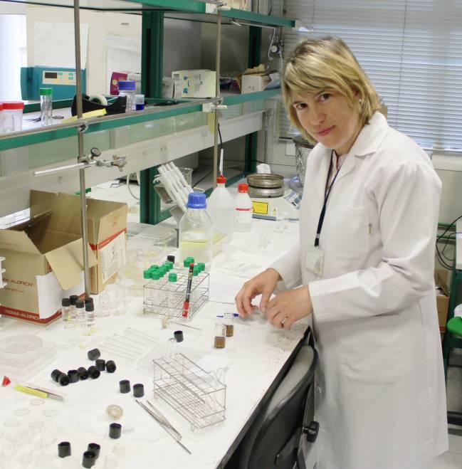 La investigadora del Instituto de Ciencia de Materiales de Sevilla Nuria Núñez, en el laboratorio / Fundación Descubre
