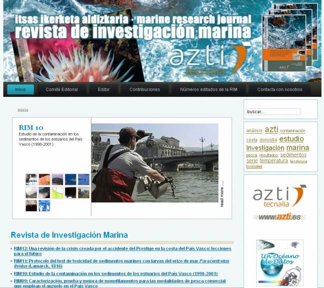 Vista de la página inicial de la serie de revistas científicas