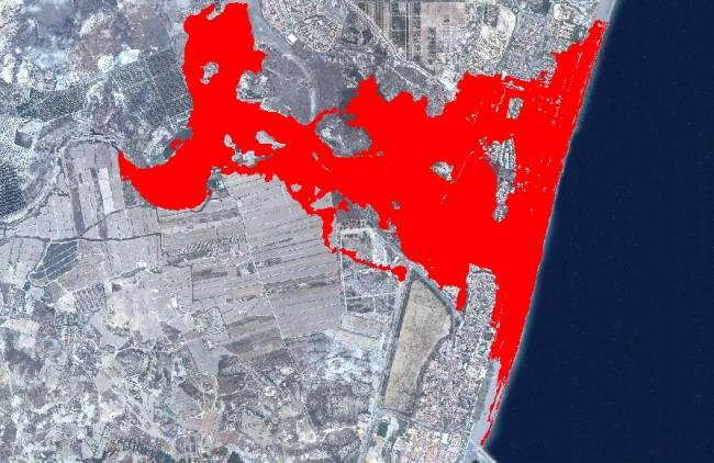 Simulación de zonas inundables en la desembocadura del río Antas (Almería) / Fundación Descubre