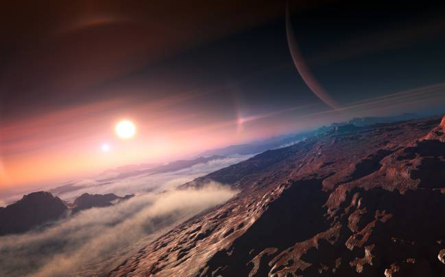 Ilustración de un exoplaneta con su estrella al fondo. / Unión Astronómica Internacional (IAU)
